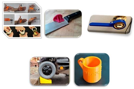 adaptadores para cuchillo, picaporte, cubiertos, silla y taza