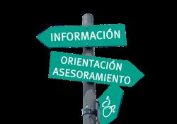 Carteles con el texto: Información, Orientación Asesoramiento